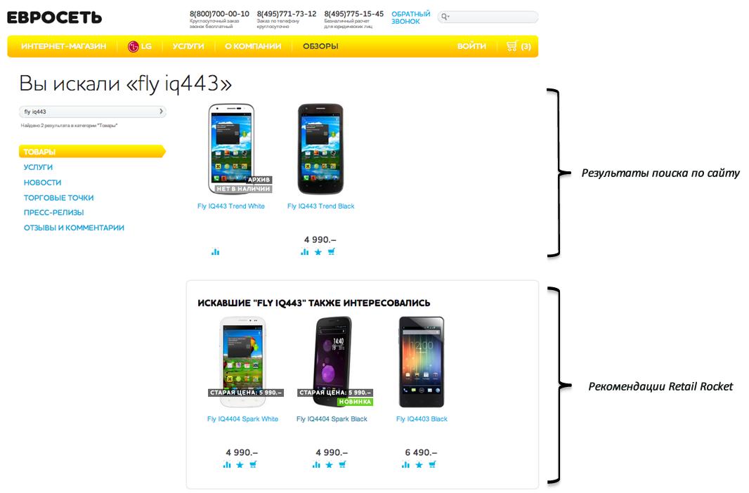 Поисковые рекомендации Retail Rocket на euroset.ru