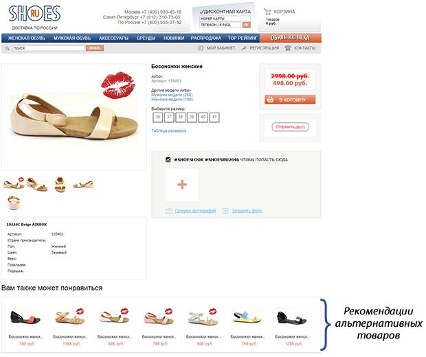 товарные рекомендации Retail Rocket на странице товара интернет-магазина shoes.ru