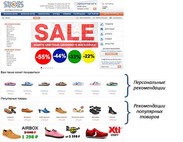 товарные рекомендации Retail Rocket на главной странице интернет-магазина shoes.ru