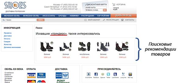 поисковые рекомендации Retail Rocket в интернет-магазине shoes.ru