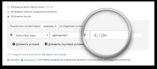 Фрагмент интерфейса сегментации подписчиков в личном кабинете Retail Rocket